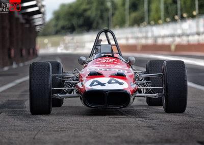 James Hunt is back at Brands Hatch. Lotus Type-59.