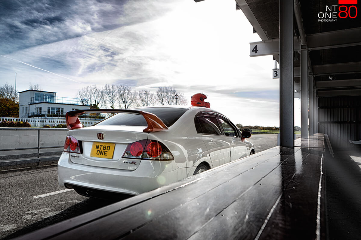 Civic race car on track goodwood