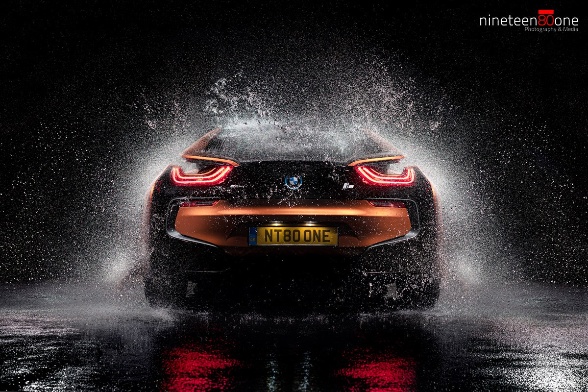 BMW i8 splash automotive photography
